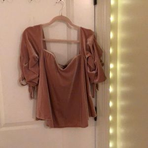 Pink velvet DO+BE off the shoulder deep neck line